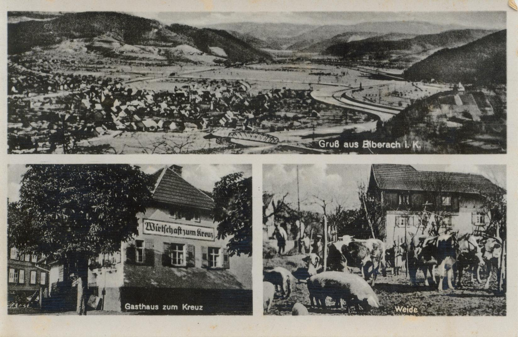 Postkarte Gasthaus Kreuz vor 1930